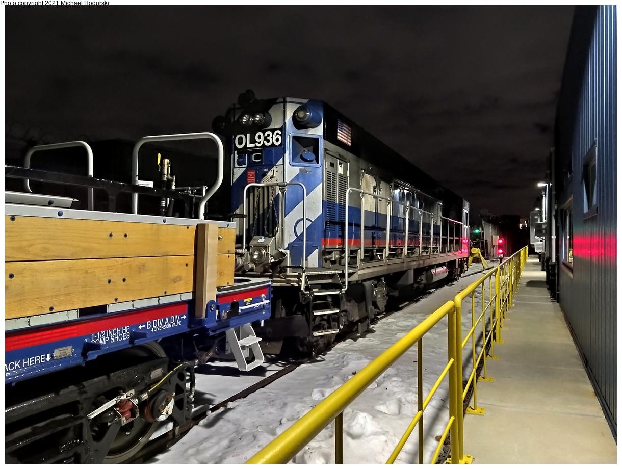 (528k, 1220x920)<br><b>Country:</b> United States<br><b>City:</b> New York<br><b>System:</b> New York City Transit<br><b>Location:</b> Fresh Pond Yard<br><b>Car:</b> R-156 Diesel-Electric Locomotive (MPI, 2012-2013) 936 <br><b>Photo by:</b> Michael Hodurski<br><b>Date:</b> 12/22/2020<br><b>Viewed (this week/total):</b> 0 / 173