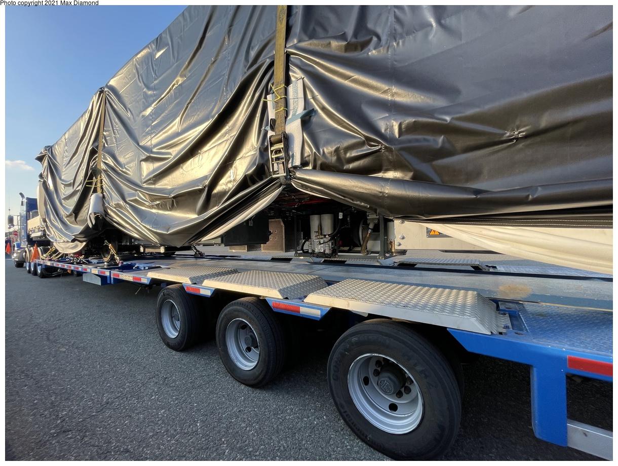 (454k, 1220x920)<br><b>Country:</b> United States<br><b>City:</b> New York<br><b>System:</b> New York City Transit<br><b>Car:</b> R-211 (Kawasaki, 2021-) 4064 <br><b>Photo by:</b> Max Diamond<br><b>Date:</b> 6/28/2021<br><b>Notes:</b> R-211 delivery at Goethals Bridge oversized load staging area.<br><b>Viewed (this week/total):</b> 3 / 178