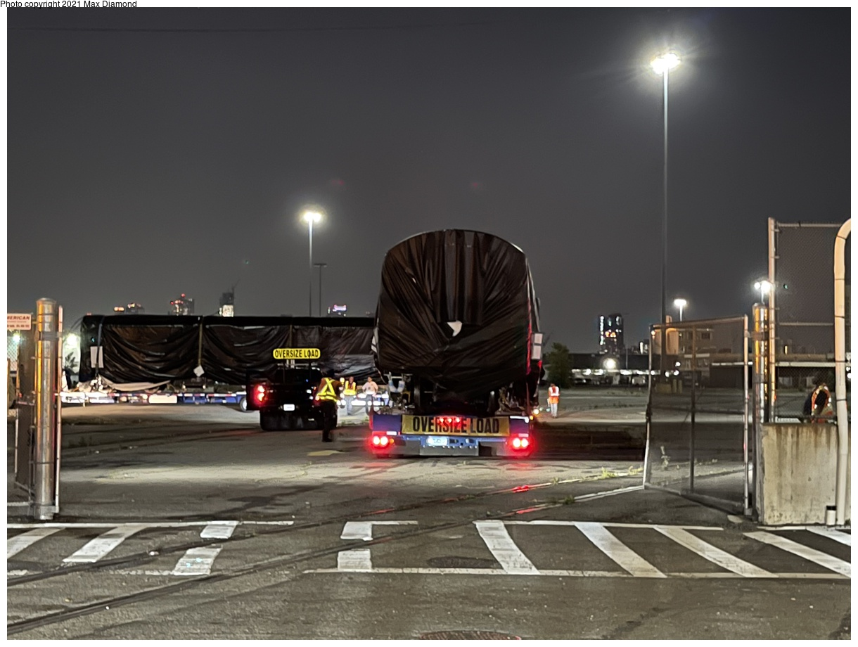 (295k, 1220x920)<br><b>Country:</b> United States<br><b>City:</b> New York<br><b>System:</b> New York City Transit<br><b>Car:</b> R-211 (Kawasaki, 2021-) 4063 <br><b>Photo by:</b> Max Diamond<br><b>Date:</b> 6/29/2021<br><b>Notes:</b> R-211 delivery at Brooklyn SBK marine terminal.<br><b>Viewed (this week/total):</b> 4 / 170