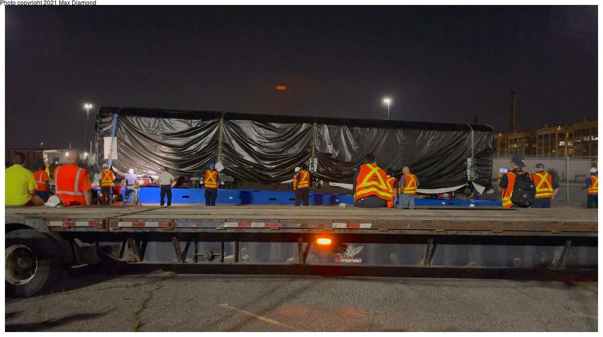 (279k, 1220x682)<br><b>Country:</b> United States<br><b>City:</b> New York<br><b>System:</b> New York City Transit<br><b>Car:</b> R-211 (Kawasaki, 2021-) 4064 <br><b>Photo by:</b> Max Diamond<br><b>Date:</b> 6/29/2021<br><b>Notes:</b> R-211 delivery at Brooklyn SBK marine terminal.<br><b>Viewed (this week/total):</b> 5 / 152
