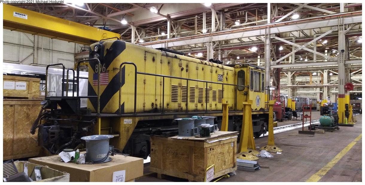 (420k, 1220x620)<br><b>Country:</b> United States<br><b>City:</b> New York<br><b>System:</b> New York City Transit<br><b>Location:</b> Coney Island Shop/Overhaul & Repair Shop<br><b>Car:</b> R-77 Locomotive 896 <br><b>Photo by:</b> Michael Hodurski<br><b>Date:</b> 1/4/2020<br><b>Viewed (this week/total):</b> 3 / 117