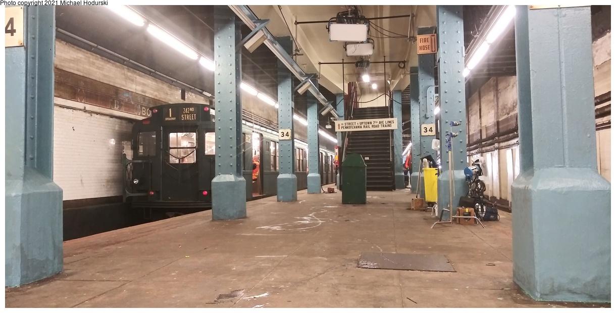 (313k, 1220x620)<br><b>Country:</b> United States<br><b>City:</b> New York<br><b>System:</b> New York City Transit<br><b>Line:</b> BMT Nassau Street-Jamaica Line<br><b>Location:</b> Bowery<br><b>Car:</b> R-9 (Pressed Steel, 1940) 1802 <br><b>Photo by:</b> Michael Hodurski<br><b>Date:</b> 6/20/2019<br><b>Notes:</b> Film or video production. Note Pennsylvania RR signage.<br><b>Viewed (this week/total):</b> 6 / 370