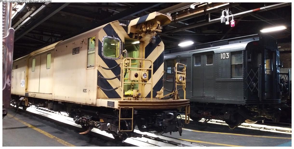 (330k, 1220x620)<br><b>Country:</b> United States<br><b>City:</b> New York<br><b>System:</b> New York City Transit<br><b>Location:</b> 207th Street Shop<br><b>Car:</b> Signal Dolly S-02 <br><b>Photo by:</b> Michael Hodurski<br><b>Date:</b> 12/15/2019<br><b>Notes:</b> With R-1 103<br><b>Viewed (this week/total):</b> 3 / 248