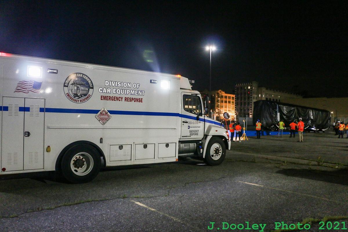 (400k, 1200x801)<br><b>Country:</b> United States<br><b>City:</b> New York<br><b>System:</b> New York City Transit<br><b>Car:</b> R-211 (Kawasaki, 2021-)  <br><b>Photo by:</b> John Dooley<br><b>Date:</b> 6/29/2021<br><b>Notes:</b> Night-time delivery of first R-211 cars.<br><b>Viewed (this week/total):</b> 1 / 153