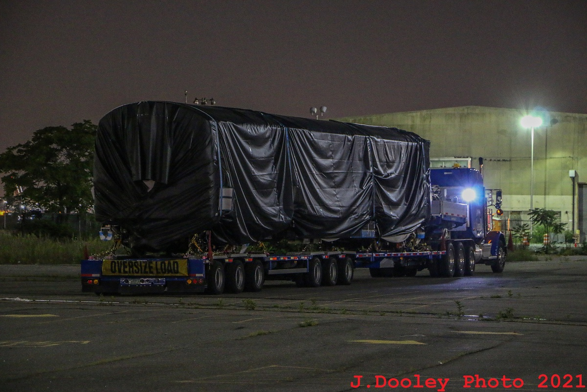 (366k, 1200x801)<br><b>Country:</b> United States<br><b>City:</b> New York<br><b>System:</b> New York City Transit<br><b>Car:</b> R-211 (Kawasaki, 2021-)  <br><b>Photo by:</b> John Dooley<br><b>Date:</b> 6/29/2021<br><b>Notes:</b> Night-time delivery of first R-211 cars.<br><b>Viewed (this week/total):</b> 1 / 180