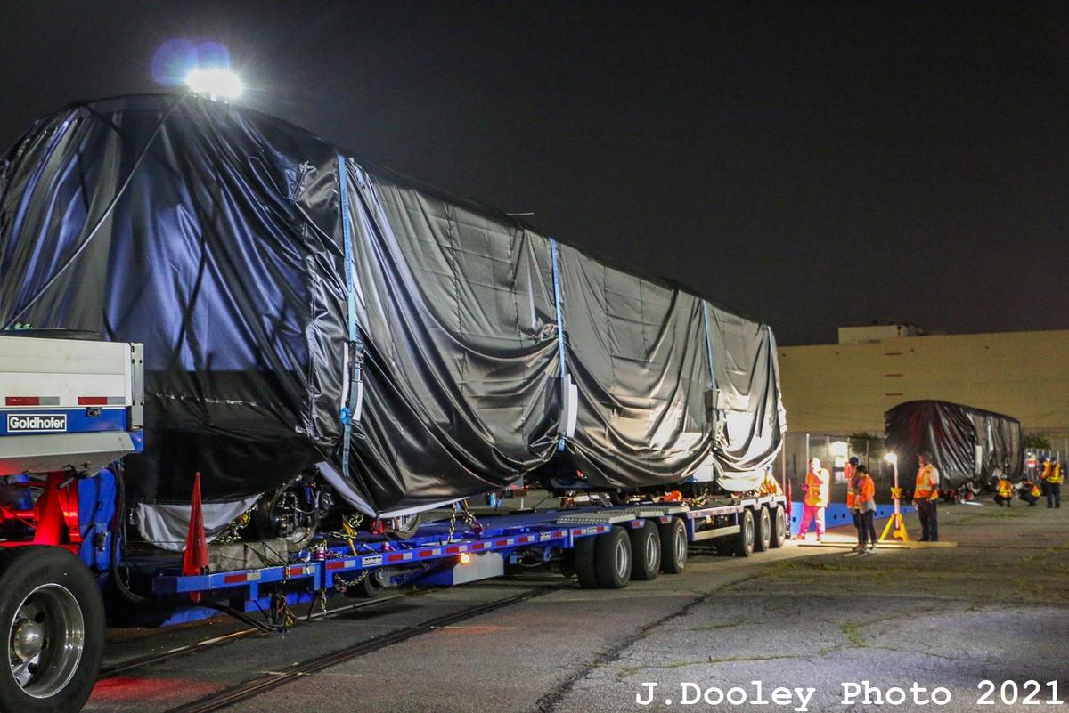 (386k, 1200x801)<br><b>Country:</b> United States<br><b>City:</b> New York<br><b>System:</b> New York City Transit<br><b>Car:</b> R-211 (Kawasaki, 2021-)  <br><b>Photo by:</b> John Dooley<br><b>Date:</b> 6/29/2021<br><b>Notes:</b> Night-time delivery of first R-211 cars.<br><b>Viewed (this week/total):</b> 1 / 153