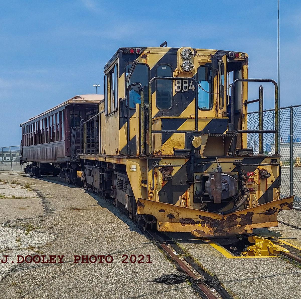 (907k, 1200x1190)<br><b>Country:</b> United States<br><b>City:</b> New York<br><b>System:</b> New York City Transit<br><b>Line:</b> South Brooklyn Railway<br><b>Location:</b> SBK Yard (2nd Ave at 38th St.) (SBK)<br><b>Car:</b> R-77 Locomotive 884 <br><b>Photo by:</b> John Dooley<br><b>Date:</b> 7/6/2021<br><b>Notes:</b> BMT gate car 1273 appeared in NYC Hometown Heroes parade 7/7/2021.<br><b>Viewed (this week/total):</b> 0 / 289