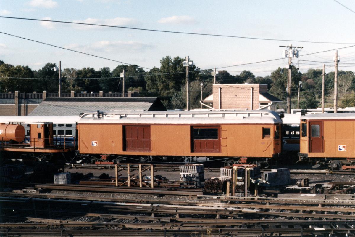 (475k, 1200x800)<br><b>Country:</b> United States<br><b>City:</b> Philadelphia, PA<br><b>System:</b> SEPTA (or Predecessor)<br><b>Line:</b> 100-Norristown<br><b>Location:</b> 72nd (69th) St. Yard-Norristown Line<br><b>Car:</b> PSTC Box Motor (St. Louis Car, 1907) 401 <br><b>Collection of:</b> David Pirmann<br><b>Notes:</b> Probably 1987 or 1988<br><b>Viewed (this week/total):</b> 3 / 13