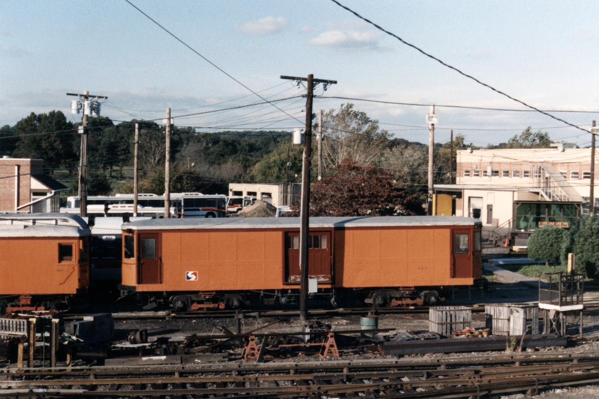 (485k, 1200x800)<br><b>Country:</b> United States<br><b>City:</b> Philadelphia, PA<br><b>System:</b> SEPTA (or Predecessor)<br><b>Line:</b> 100-Norristown<br><b>Location:</b> 72nd (69th) St. Yard-Norristown Line<br><b>Car:</b> PSTC Box Motor (St. Louis Car, 1907) 402 <br><b>Collection of:</b> David Pirmann<br><b>Notes:</b> Probably 1987 or 1988<br><b>Viewed (this week/total):</b> 2 / 12