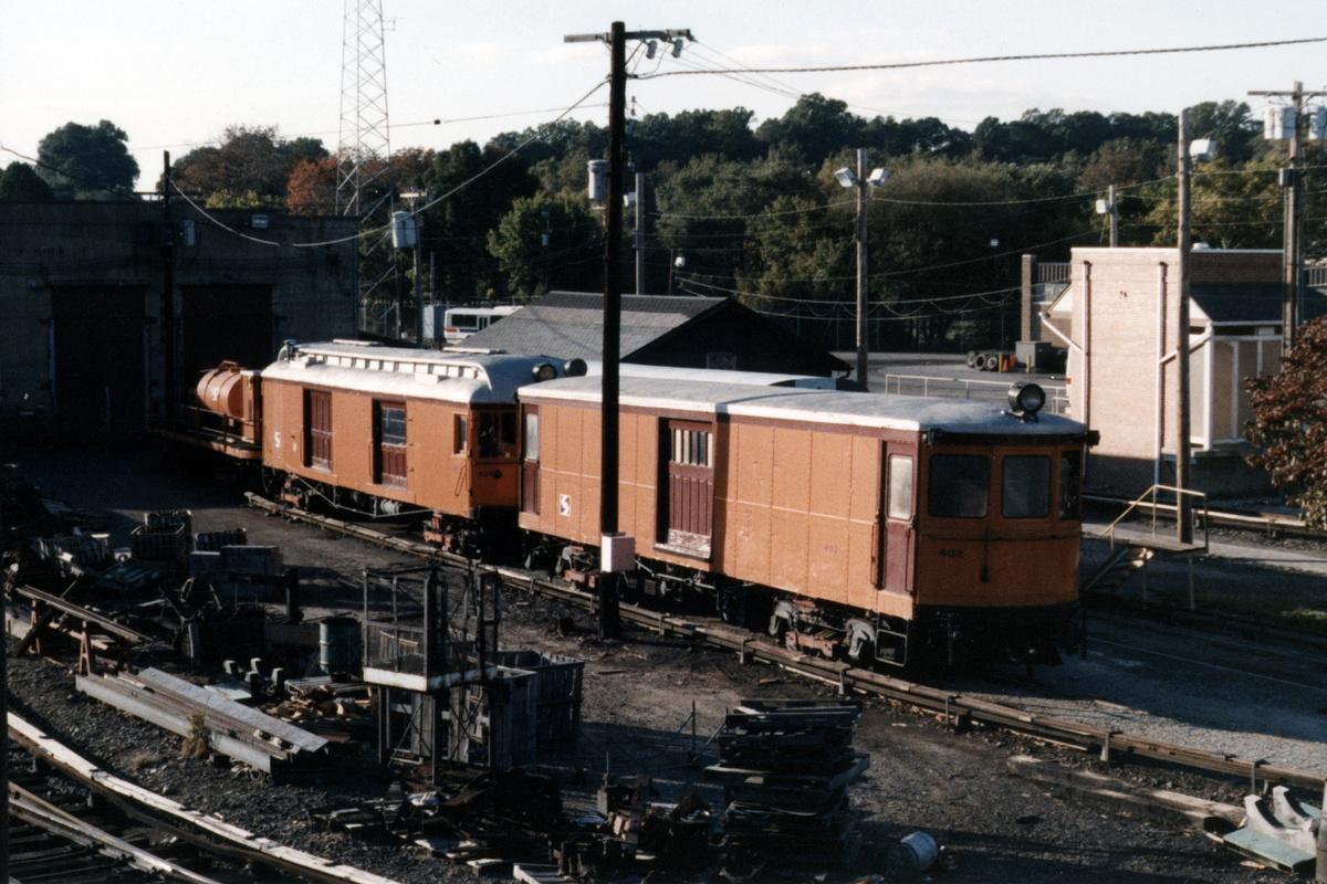 (474k, 1200x800)<br><b>Country:</b> United States<br><b>City:</b> Philadelphia, PA<br><b>System:</b> SEPTA (or Predecessor)<br><b>Line:</b> 100-Norristown<br><b>Location:</b> 72nd (69th) St. Yard-Norristown Line<br><b>Car:</b> PSTC Box Motor (St. Louis Car, 1907) 402 <br><b>Collection of:</b> David Pirmann<br><b>Notes:</b> Probably 1987 or 1988<br><b>Viewed (this week/total):</b> 2 / 14