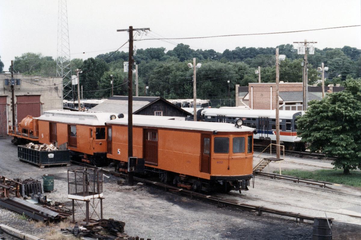 (503k, 1200x800)<br><b>Country:</b> United States<br><b>City:</b> Philadelphia, PA<br><b>System:</b> SEPTA (or Predecessor)<br><b>Line:</b> 100-Norristown<br><b>Location:</b> 72nd (69th) St. Yard-Norristown Line<br><b>Car:</b> PSTC Box Motor (St. Louis Car, 1907) 402 <br><b>Collection of:</b> David Pirmann<br><b>Date:</b> 1988<br><b>Notes:</b> Summer 1988<br><b>Viewed (this week/total):</b> 3 / 15