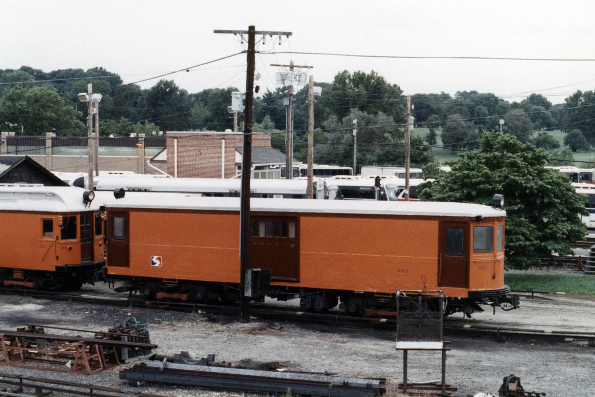 (480k, 1200x800)<br><b>Country:</b> United States<br><b>City:</b> Philadelphia, PA<br><b>System:</b> SEPTA (or Predecessor)<br><b>Line:</b> 100-Norristown<br><b>Location:</b> 72nd (69th) St. Yard-Norristown Line<br><b>Car:</b> PSTC Box Motor (St. Louis Car, 1907) 402 <br><b>Collection of:</b> David Pirmann<br><b>Date:</b> 1988<br><b>Notes:</b> Summer 1988<br><b>Viewed (this week/total):</b> 4 / 13