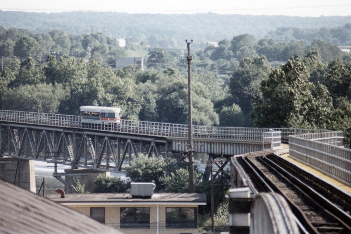 (481k, 1200x800)<br><b>Country:</b> United States<br><b>City:</b> Philadelphia, PA<br><b>System:</b> SEPTA (or Predecessor)<br><b>Line:</b> 100-Norristown<br><b>Location:</b> Norristown (Original Terminal)<br><b>Car:</b> PSTC/SEPTA Bullet (J.G. Brill Co., 1931-1934)  <br><b>Collection of:</b> David Pirmann<br><b>Date:</b> 1987<br><b>Notes:</b> Summer 1987<br><b>Viewed (this week/total):</b> 1 / 12