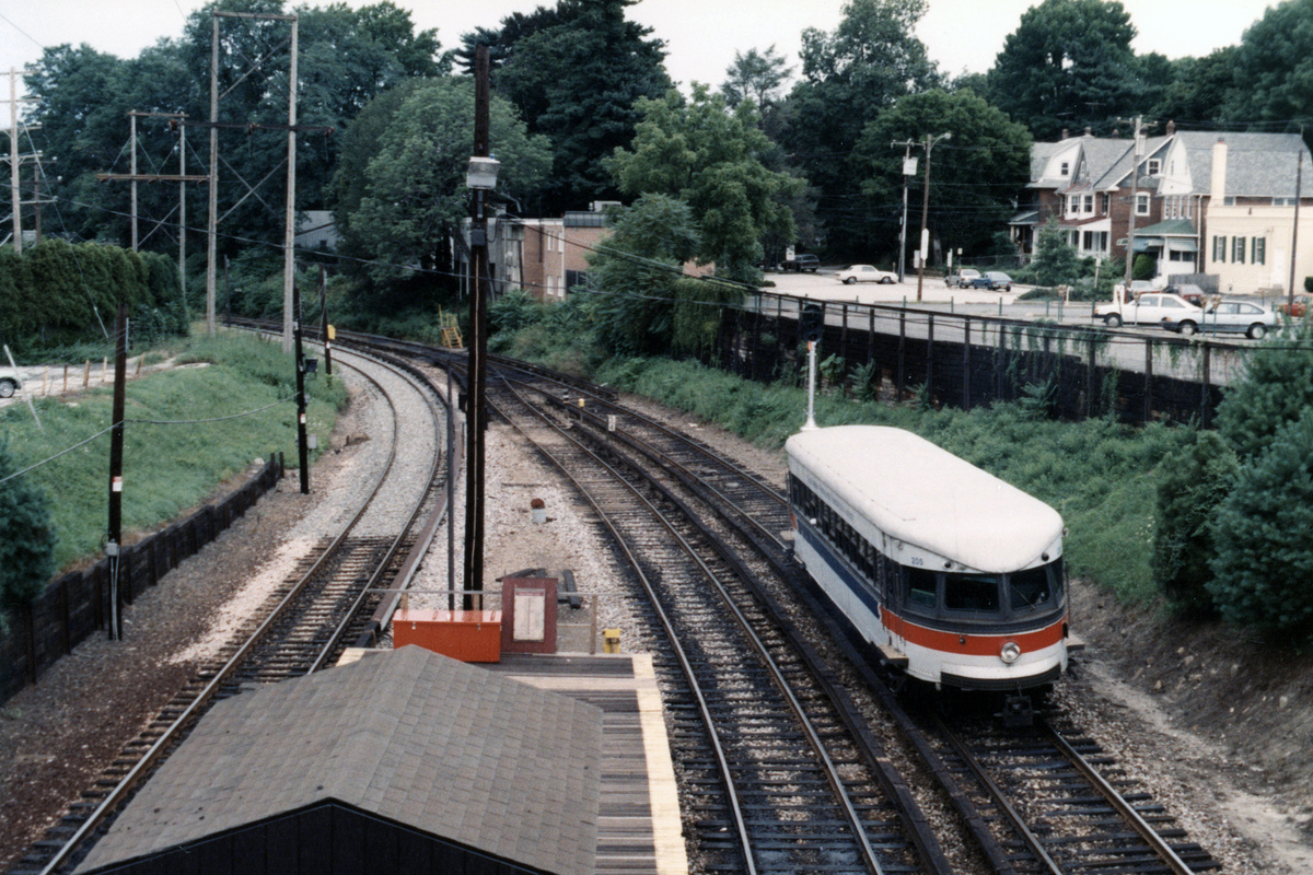 (555k, 1200x800)<br><b>Country:</b> United States<br><b>City:</b> Philadelphia, PA<br><b>System:</b> SEPTA (or Predecessor)<br><b>Line:</b> 100-Norristown<br><b>Location:</b> Bryn Mawr<br><b>Car:</b> PSTC/SEPTA Bullet (J.G. Brill Co., 1931-1934) 205 <br><b>Collection of:</b> David Pirmann<br><b>Notes:</b> Probably 1987 or 1988<br><b>Viewed (this week/total):</b> 2 / 16