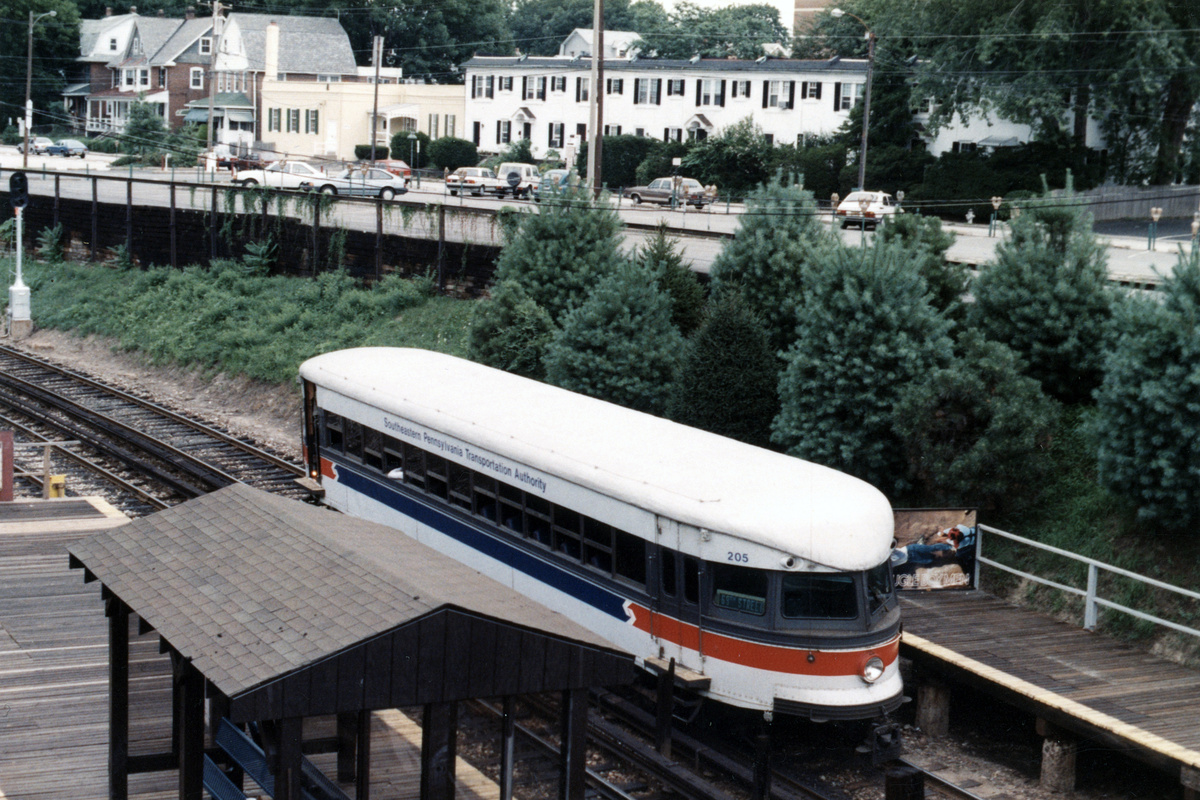 (520k, 1200x800)<br><b>Country:</b> United States<br><b>City:</b> Philadelphia, PA<br><b>System:</b> SEPTA (or Predecessor)<br><b>Line:</b> 100-Norristown<br><b>Location:</b> Bryn Mawr<br><b>Car:</b> PSTC/SEPTA Bullet (J.G. Brill Co., 1931-1934) 205 <br><b>Collection of:</b> David Pirmann<br><b>Notes:</b> Probably 1987 or 1988<br><b>Viewed (this week/total):</b> 2 / 13