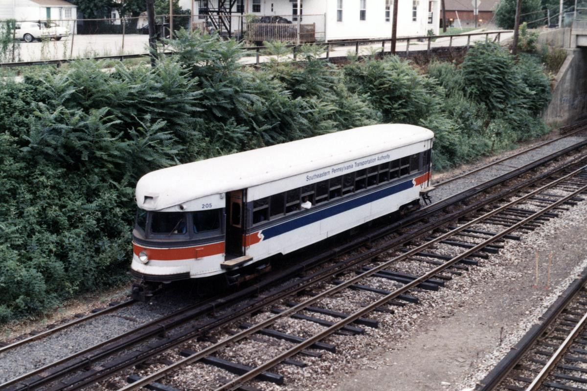 (597k, 1200x800)<br><b>Country:</b> United States<br><b>City:</b> Philadelphia, PA<br><b>System:</b> SEPTA (or Predecessor)<br><b>Line:</b> 100-Norristown<br><b>Location:</b> Bryn Mawr<br><b>Car:</b> PSTC/SEPTA Bullet (J.G. Brill Co., 1931-1934) 205 <br><b>Collection of:</b> David Pirmann<br><b>Notes:</b> Probably 1987 or 1988<br><b>Viewed (this week/total):</b> 2 / 11