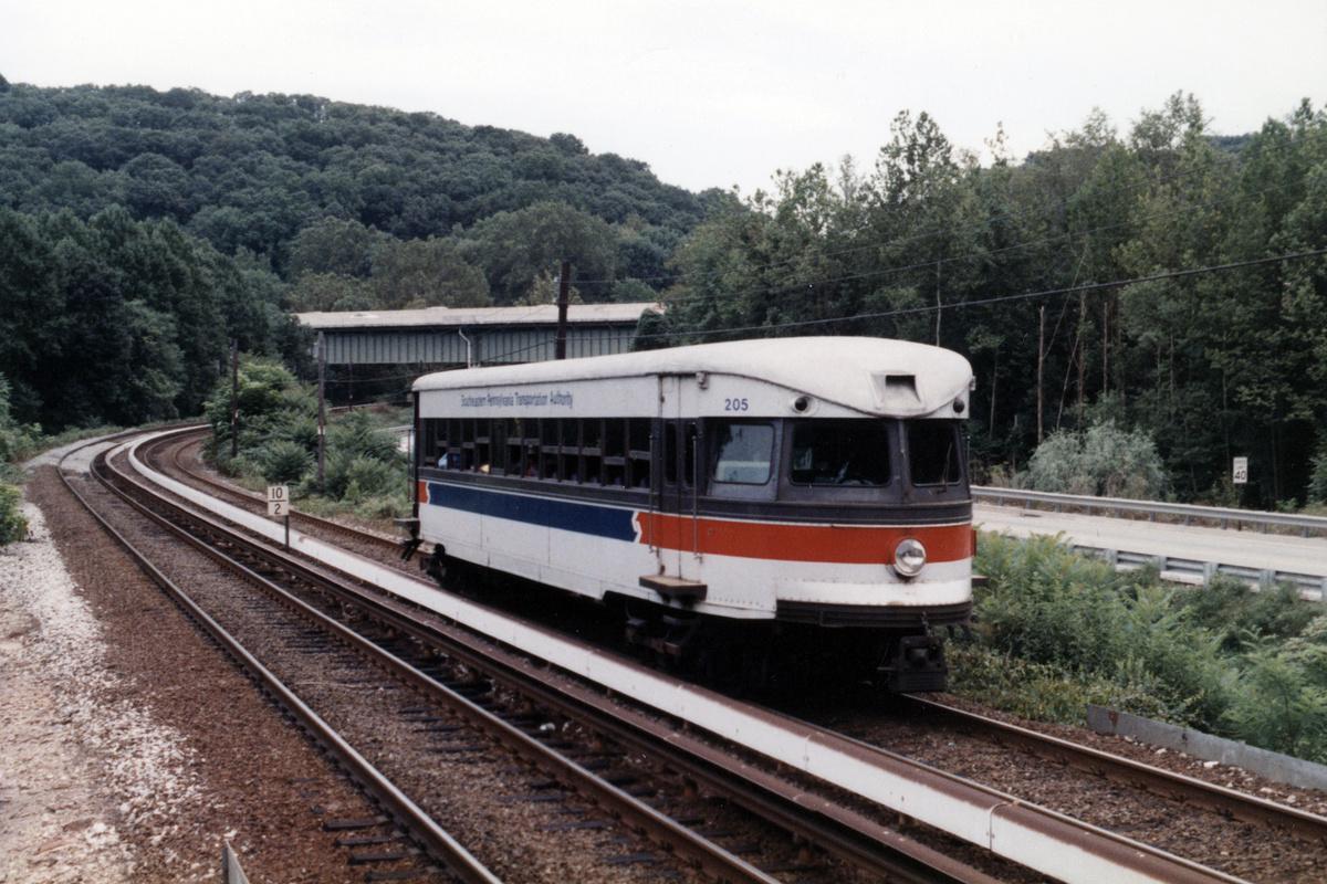 (489k, 1200x800)<br><b>Country:</b> United States<br><b>City:</b> Philadelphia, PA<br><b>System:</b> SEPTA (or Predecessor)<br><b>Line:</b> 100-Norristown<br><b>Location:</b> Norristown line-Loc. unknown.<br><b>Car:</b> PSTC/SEPTA Bullet (J.G. Brill Co., 1931-1934) 205 <br><b>Collection of:</b> David Pirmann<br><b>Notes:</b> Probably 1987 or 1988<br><b>Viewed (this week/total):</b> 5 / 18