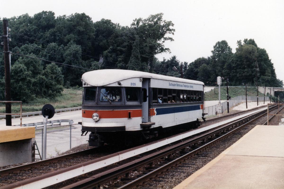 (442k, 1200x800)<br><b>Country:</b> United States<br><b>City:</b> Philadelphia, PA<br><b>System:</b> SEPTA (or Predecessor)<br><b>Line:</b> 100-Norristown<br><b>Location:</b> Norristown line-Loc. unknown.<br><b>Car:</b> PSTC/SEPTA Bullet (J.G. Brill Co., 1931-1934) 205 <br><b>Collection of:</b> David Pirmann<br><b>Notes:</b> Probably 1987 or 1988<br><b>Viewed (this week/total):</b> 4 / 13