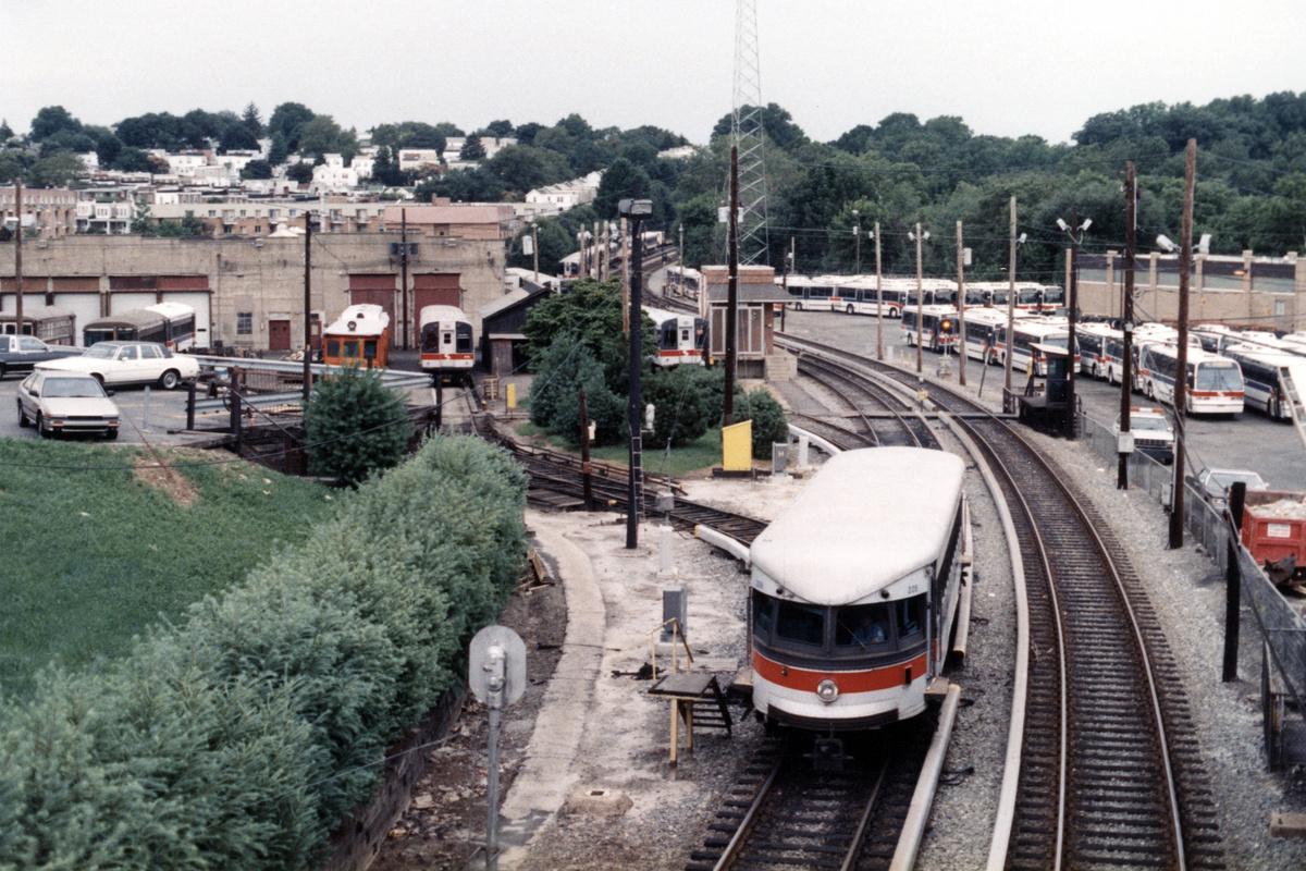 (534k, 1200x800)<br><b>Country:</b> United States<br><b>City:</b> Philadelphia, PA<br><b>System:</b> SEPTA (or Predecessor)<br><b>Line:</b> 100-Norristown<br><b>Location:</b> 72nd (69th) St. Yard-Norristown Line<br><b>Car:</b> PSTC/SEPTA Bullet (J.G. Brill Co., 1931-1934) 205 <br><b>Collection of:</b> David Pirmann<br><b>Notes:</b> Probably 1987 or 1988<br><b>Viewed (this week/total):</b> 2 / 13