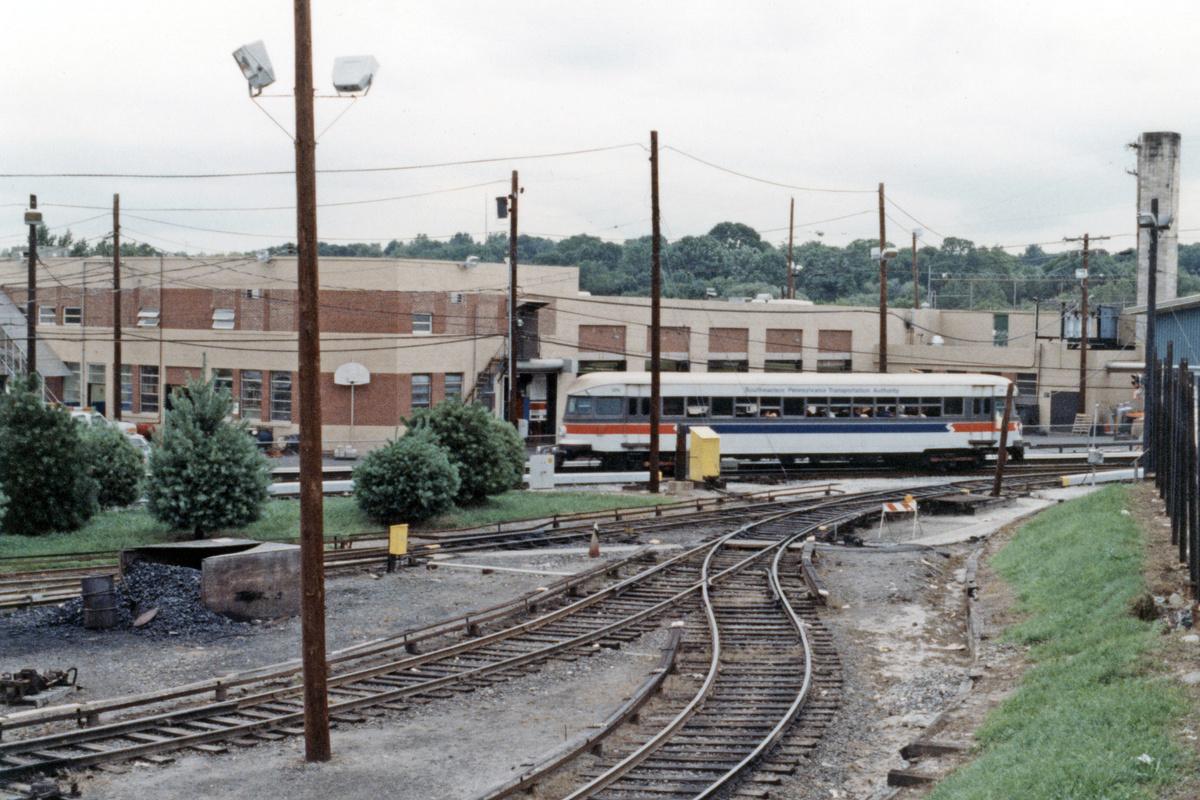 (511k, 1200x800)<br><b>Country:</b> United States<br><b>City:</b> Philadelphia, PA<br><b>System:</b> SEPTA (or Predecessor)<br><b>Line:</b> 100-Norristown<br><b>Location:</b> 72nd (69th) St. Yard-Norristown Line<br><b>Car:</b> PSTC/SEPTA Bullet (J.G. Brill Co., 1931-1934) 206 <br><b>Collection of:</b> David Pirmann<br><b>Date:</b> 1988<br><b>Notes:</b> Summer 1988<br><b>Viewed (this week/total):</b> 2 / 15