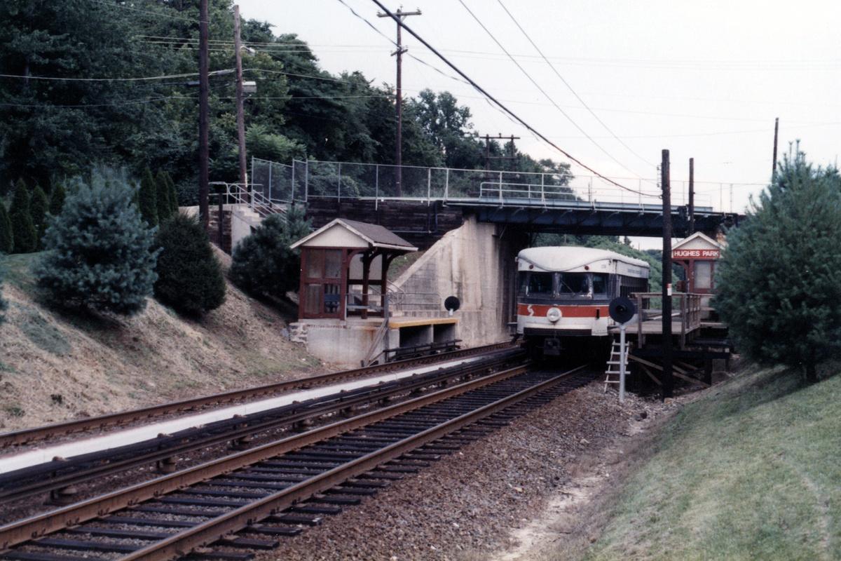 (497k, 1200x800)<br><b>Country:</b> United States<br><b>City:</b> Philadelphia, PA<br><b>System:</b> SEPTA (or Predecessor)<br><b>Line:</b> 100-Norristown<br><b>Location:</b> Hughes Park<br><b>Car:</b> PSTC/SEPTA Bullet (J.G. Brill Co., 1931-1934) 206 <br><b>Collection of:</b> David Pirmann<br><b>Notes:</b> Probably 1987 or 1988<br><b>Viewed (this week/total):</b> 3 / 13