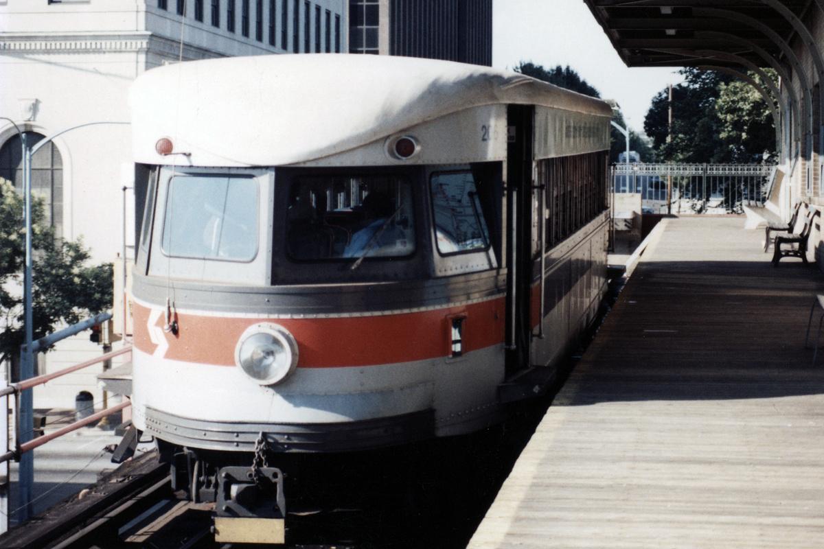 (393k, 1200x800)<br><b>Country:</b> United States<br><b>City:</b> Philadelphia, PA<br><b>System:</b> SEPTA (or Predecessor)<br><b>Line:</b> 100-Norristown<br><b>Location:</b> Norristown (Original Terminal)<br><b>Car:</b> PSTC/SEPTA Bullet (J.G. Brill Co., 1931-1934) 206 <br><b>Collection of:</b> David Pirmann<br><b>Date:</b> 1987<br><b>Notes:</b> Summer 1987<br><b>Viewed (this week/total):</b> 1 / 12
