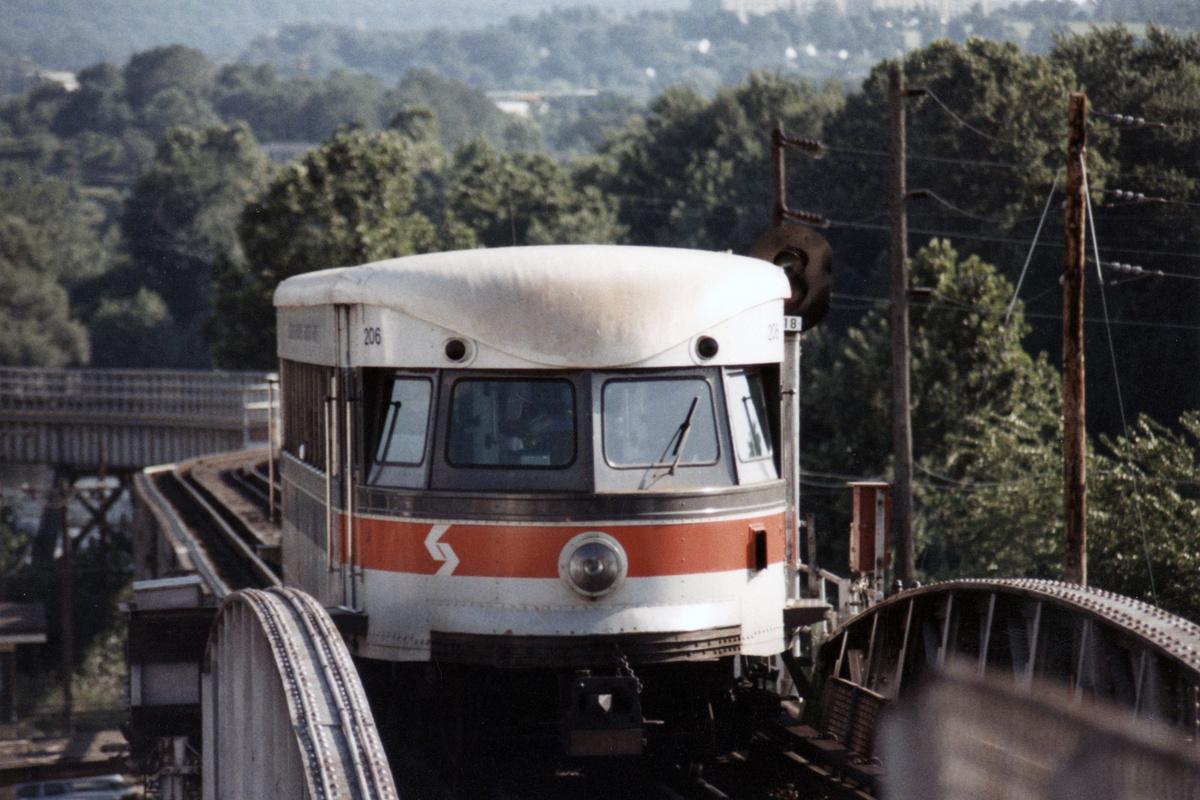 (436k, 1200x800)<br><b>Country:</b> United States<br><b>City:</b> Philadelphia, PA<br><b>System:</b> SEPTA (or Predecessor)<br><b>Line:</b> 100-Norristown<br><b>Location:</b> Norristown (Original Terminal)<br><b>Car:</b> PSTC/SEPTA Bullet (J.G. Brill Co., 1931-1934) 206 <br><b>Collection of:</b> David Pirmann<br><b>Date:</b> 1987<br><b>Notes:</b> Summer 1987<br><b>Viewed (this week/total):</b> 3 / 16