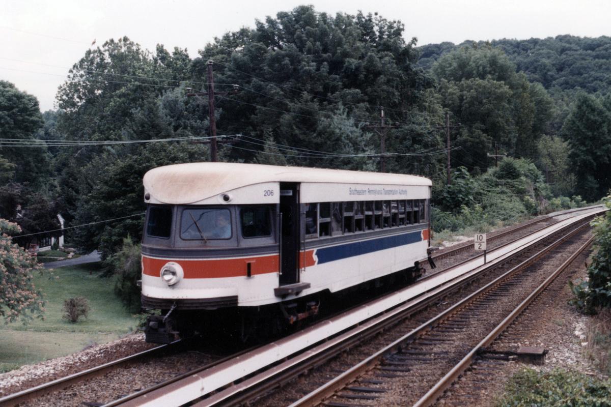 (493k, 1200x800)<br><b>Country:</b> United States<br><b>City:</b> Philadelphia, PA<br><b>System:</b> SEPTA (or Predecessor)<br><b>Line:</b> 100-Norristown<br><b>Location:</b> Norristown line-Loc. unknown.<br><b>Car:</b> PSTC/SEPTA Bullet (J.G. Brill Co., 1931-1934) 206 <br><b>Collection of:</b> David Pirmann<br><b>Notes:</b> Probably 1987 or 1988<br><b>Viewed (this week/total):</b> 6 / 15