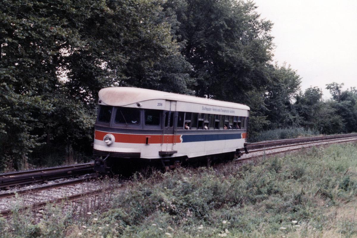 (533k, 1200x800)<br><b>Country:</b> United States<br><b>City:</b> Philadelphia, PA<br><b>System:</b> SEPTA (or Predecessor)<br><b>Line:</b> 100-Norristown<br><b>Location:</b> Norristown line-Loc. unknown.<br><b>Car:</b> PSTC/SEPTA Bullet (J.G. Brill Co., 1931-1934) 206 <br><b>Collection of:</b> David Pirmann<br><b>Notes:</b> Probably 1987 or 1988<br><b>Viewed (this week/total):</b> 8 / 17