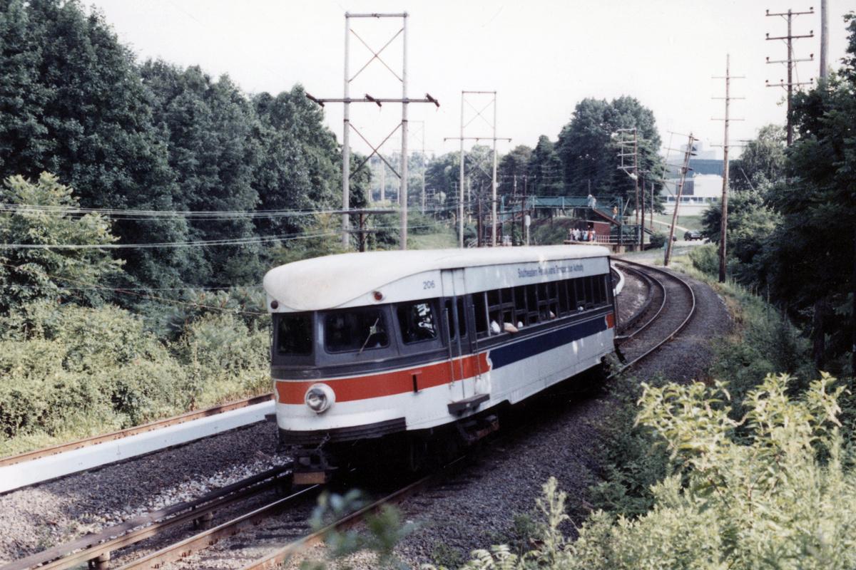 (544k, 1200x800)<br><b>Country:</b> United States<br><b>City:</b> Philadelphia, PA<br><b>System:</b> SEPTA (or Predecessor)<br><b>Line:</b> 100-Norristown<br><b>Location:</b> Norristown line-Loc. unknown.<br><b>Car:</b> PSTC/SEPTA Bullet (J.G. Brill Co., 1931-1934) 206 <br><b>Collection of:</b> David Pirmann<br><b>Date:</b> 1987<br><b>Notes:</b> Summer 1987<br><b>Viewed (this week/total):</b> 5 / 15