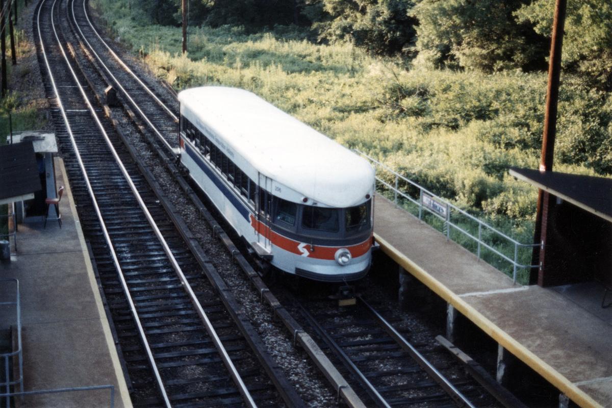 (518k, 1200x800)<br><b>Country:</b> United States<br><b>City:</b> Philadelphia, PA<br><b>System:</b> SEPTA (or Predecessor)<br><b>Line:</b> 100-Norristown<br><b>Location:</b> Norristown line-Loc. unknown.<br><b>Car:</b> PSTC/SEPTA Bullet (J.G. Brill Co., 1931-1934) 206 <br><b>Collection of:</b> David Pirmann<br><b>Date:</b> 1987<br><b>Notes:</b> Summer 1987<br><b>Viewed (this week/total):</b> 5 / 16