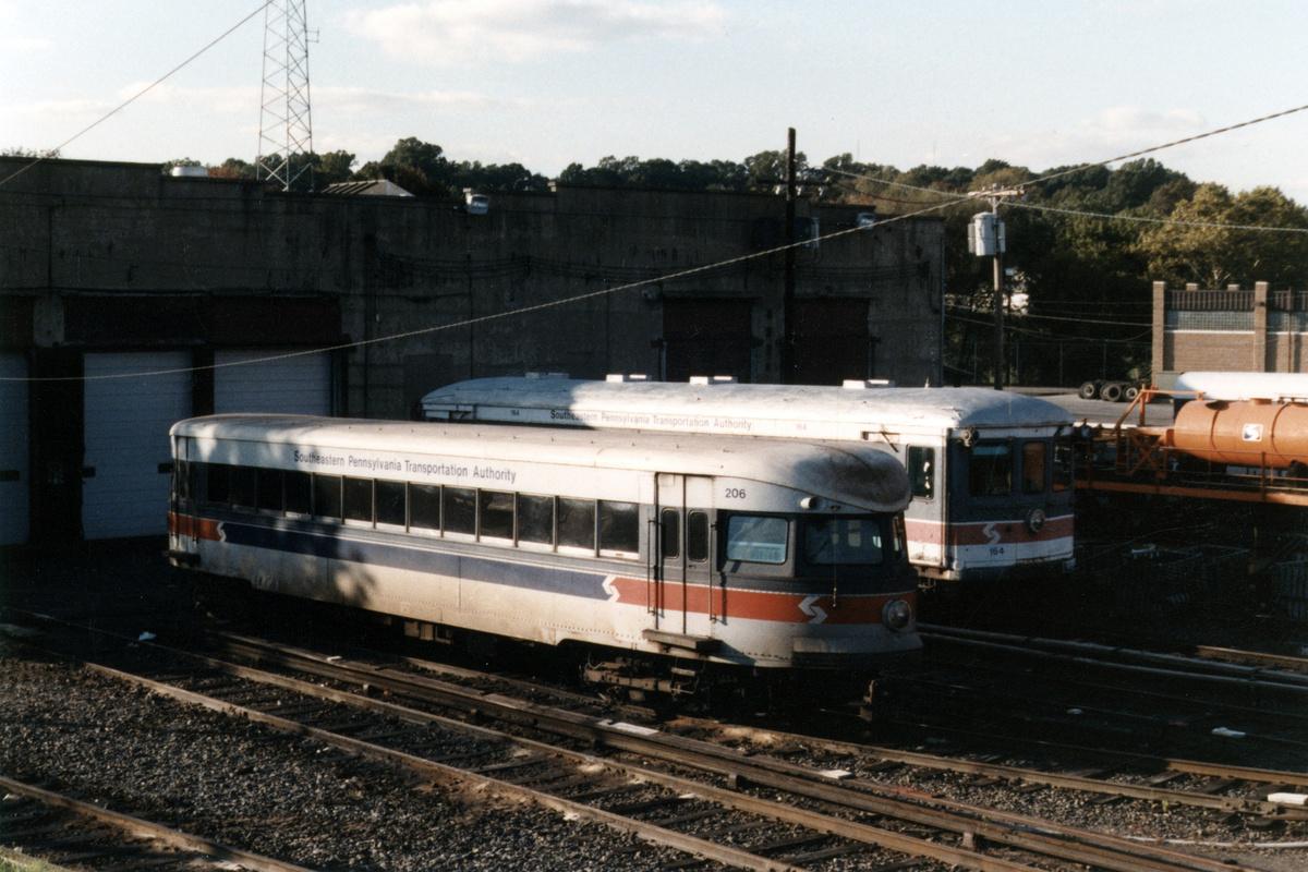(439k, 1200x800)<br><b>Country:</b> United States<br><b>City:</b> Philadelphia, PA<br><b>System:</b> SEPTA (or Predecessor)<br><b>Line:</b> 100-Norristown<br><b>Location:</b> 72nd (69th) St. Yard-Norristown Line<br><b>Car:</b> PSTC/SEPTA Bullet (J.G. Brill Co., 1931-1934) 206 w/164 <br><b>Collection of:</b> David Pirmann<br><b>Notes:</b> Probably 1987 or 1988<br><b>Viewed (this week/total):</b> 3 / 12