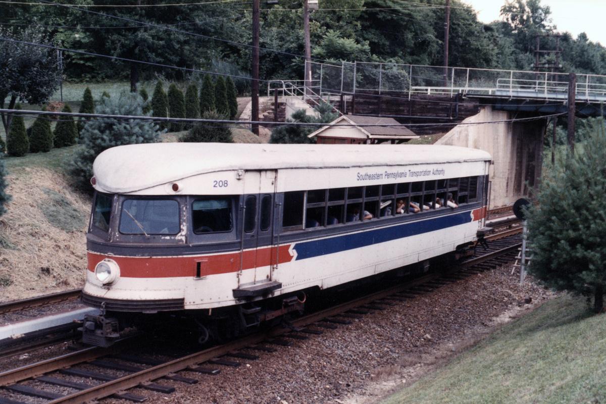 (522k, 1200x800)<br><b>Country:</b> United States<br><b>City:</b> Philadelphia, PA<br><b>System:</b> SEPTA (or Predecessor)<br><b>Line:</b> 100-Norristown<br><b>Location:</b> Hughes Park<br><b>Car:</b> PSTC/SEPTA Bullet (J.G. Brill Co., 1931-1934) 208 <br><b>Collection of:</b> David Pirmann<br><b>Notes:</b> Probably 1987 or 1988<br><b>Viewed (this week/total):</b> 6 / 18