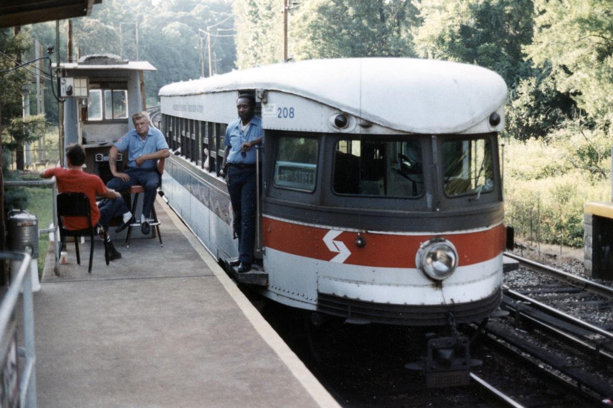 (472k, 1200x800)<br><b>Country:</b> United States<br><b>City:</b> Philadelphia, PA<br><b>System:</b> SEPTA (or Predecessor)<br><b>Line:</b> 100-Norristown<br><b>Location:</b> Norristown line-Loc. unknown.<br><b>Car:</b> PSTC/SEPTA Bullet (J.G. Brill Co., 1931-1934) 208 <br><b>Collection of:</b> David Pirmann<br><b>Date:</b> 1987<br><b>Notes:</b> Summer 1987<br><b>Viewed (this week/total):</b> 5 / 19