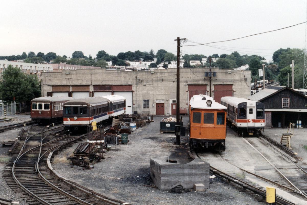 (494k, 1200x800)<br><b>Country:</b> United States<br><b>City:</b> Philadelphia, PA<br><b>System:</b> SEPTA (or Predecessor)<br><b>Line:</b> 100-Norristown<br><b>Location:</b> 72nd (69th) St. Yard-Norristown Line<br><b>Car:</b> SEPTA CTA (Ex-CTA 6000 Series) (St. Louis Car Co.) 476 w/161,162,402 <br><b>Collection of:</b> David Pirmann<br><b>Date:</b> 1988<br><b>Notes:</b> Summer 1988<br><b>Viewed (this week/total):</b> 4 / 16