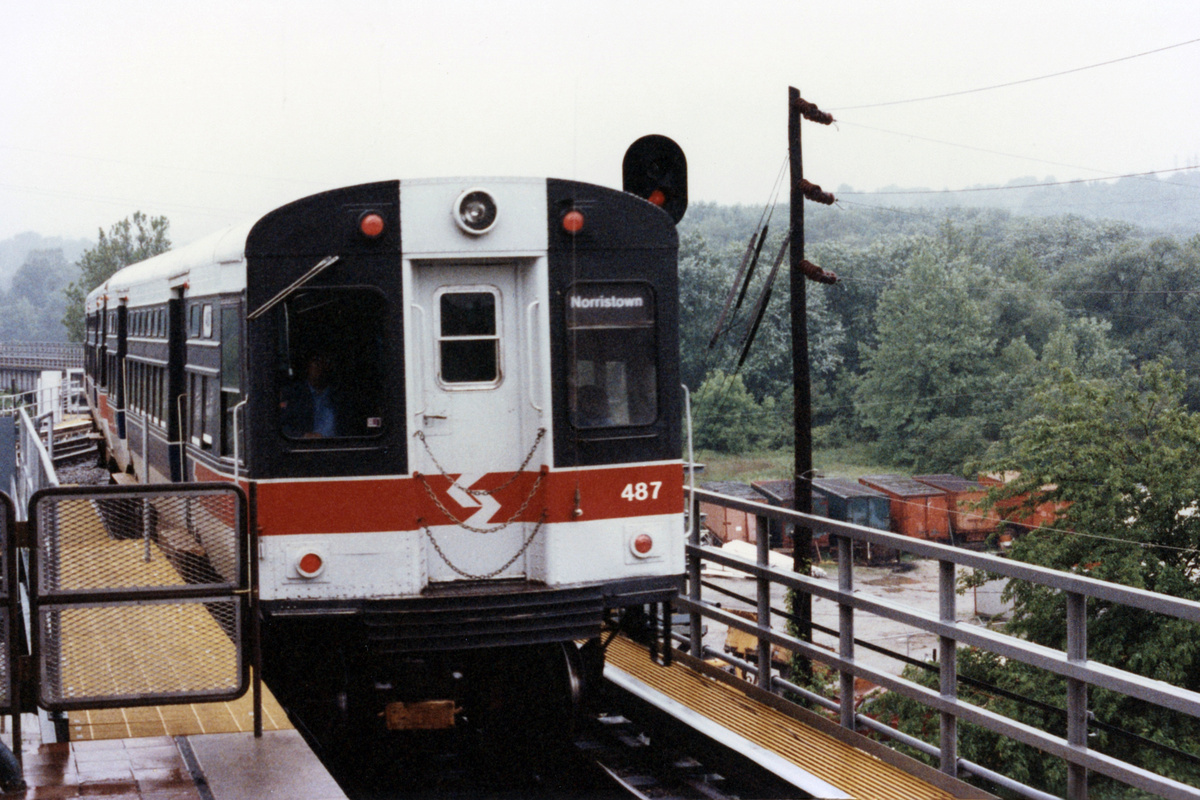 (465k, 1200x800)<br><b>Country:</b> United States<br><b>City:</b> Philadelphia, PA<br><b>System:</b> SEPTA (or Predecessor)<br><b>Line:</b> 100-Norristown<br><b>Location:</b> Norristown (Original Terminal)<br><b>Car:</b> SEPTA CTA (Ex-CTA 6000 Series) (St. Louis Car Co.) 487 <br><b>Collection of:</b> David Pirmann<br><b>Date:</b> 1992<br><b>Notes:</b> Summer 1992<br><b>Viewed (this week/total):</b> 1 / 10