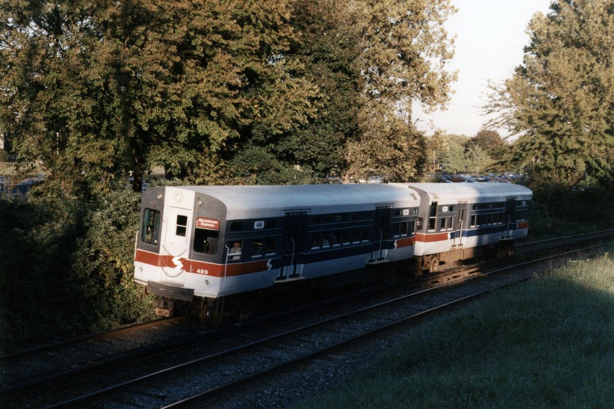 (596k, 1200x800)<br><b>Country:</b> United States<br><b>City:</b> Philadelphia, PA<br><b>System:</b> SEPTA (or Predecessor)<br><b>Line:</b> 100-Norristown<br><b>Location:</b> Norristown line-Loc. unknown.<br><b>Car:</b> SEPTA CTA (Ex-CTA 6000 Series) (St. Louis Car Co.) 489 <br><b>Collection of:</b> David Pirmann<br><b>Notes:</b> Probably 1987 or 1988<br><b>Viewed (this week/total):</b> 4 / 16