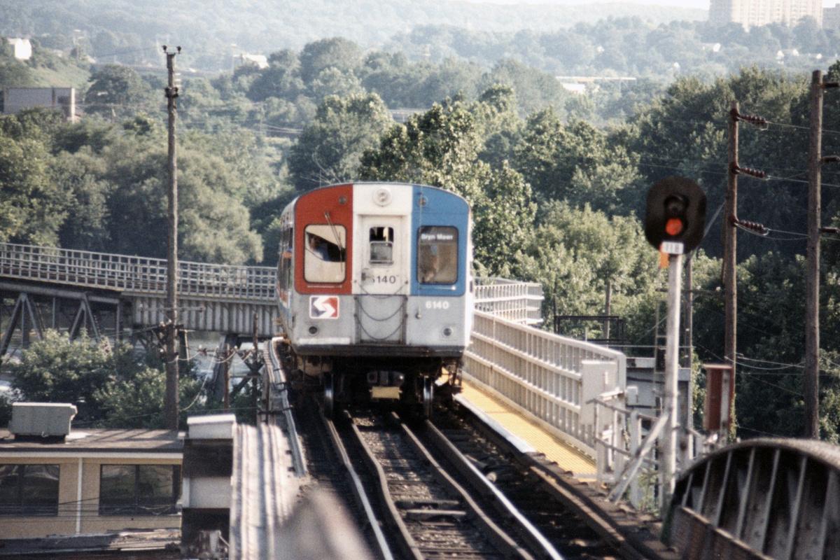 (520k, 1200x800)<br><b>Country:</b> United States<br><b>City:</b> Philadelphia, PA<br><b>System:</b> SEPTA (or Predecessor)<br><b>Line:</b> 100-Norristown<br><b>Location:</b> Norristown (Original Terminal)<br><b>Car:</b> SEPTA CTA (Ex-CTA 6000 Series) (St. Louis Car Co.) 6140 <br><b>Collection of:</b> David Pirmann<br><b>Date:</b> 1987<br><b>Notes:</b> Summer 1987<br><b>Viewed (this week/total):</b> 5 / 16