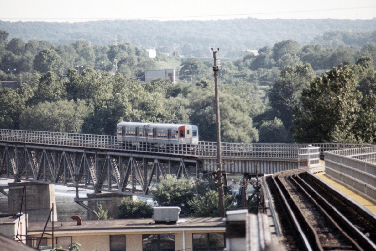 (515k, 1200x800)<br><b>Country:</b> United States<br><b>City:</b> Philadelphia, PA<br><b>System:</b> SEPTA (or Predecessor)<br><b>Line:</b> 100-Norristown<br><b>Location:</b> Norristown line-Loc. unknown.<br><b>Car:</b> SEPTA CTA (Ex-CTA 6000 Series) (St. Louis Car Co.) 6140 <br><b>Collection of:</b> David Pirmann<br><b>Date:</b> 1987<br><b>Notes:</b> Summer 1987<br><b>Viewed (this week/total):</b> 9 / 29