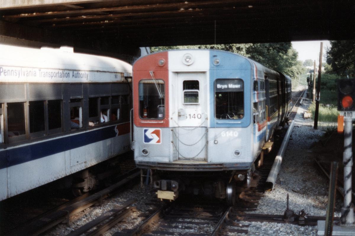 (398k, 1200x800)<br><b>Country:</b> United States<br><b>City:</b> Philadelphia, PA<br><b>System:</b> SEPTA (or Predecessor)<br><b>Line:</b> 100-Norristown<br><b>Location:</b> Norristown line-Loc. unknown.<br><b>Car:</b> SEPTA CTA (Ex-CTA 6000 Series) (St. Louis Car Co.) 6140 <br><b>Collection of:</b> David Pirmann<br><b>Date:</b> 1987<br><b>Notes:</b> Summer 1987<br><b>Viewed (this week/total):</b> 5 / 24
