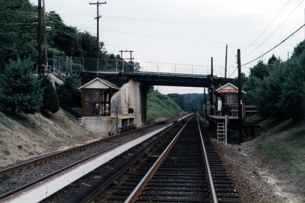 (437k, 1200x800)<br><b>Country:</b> United States<br><b>City:</b> Philadelphia, PA<br><b>System:</b> SEPTA (or Predecessor)<br><b>Line:</b> 100-Norristown<br><b>Location:</b> Hughes Park<br><b>Collection of:</b> David Pirmann<br><b>Notes:</b> Probably 1987 or 1988<br><b>Viewed (this week/total):</b> 1 / 12