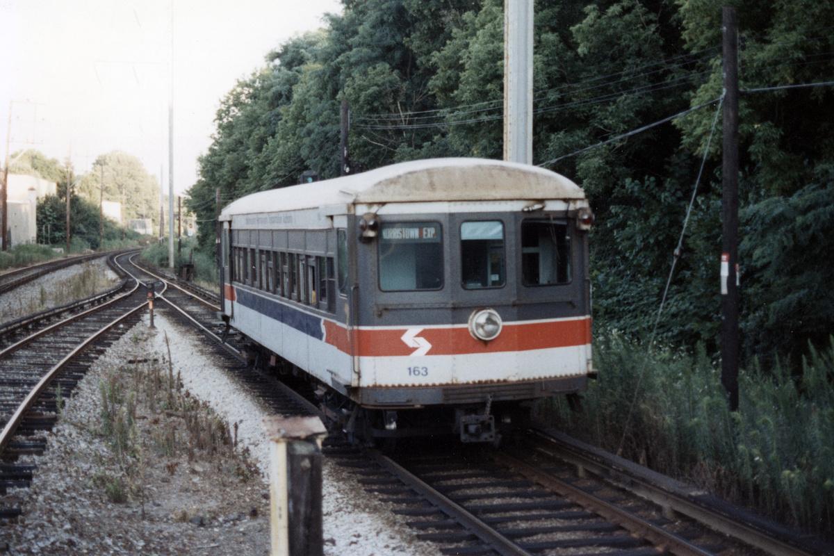 (458k, 1200x800)<br><b>Country:</b> United States<br><b>City:</b> Philadelphia, PA<br><b>System:</b> SEPTA (or Predecessor)<br><b>Line:</b> 100-Norristown<br><b>Location:</b> Bryn Mawr<br><b>Car:</b> PSTC/SEPTA Strafford (J.G. Brill Co., 1927-1929) 163 <br><b>Collection of:</b> David Pirmann<br><b>Date:</b> 1987<br><b>Notes:</b> Summer 1987<br><b>Viewed (this week/total):</b> 2 / 15