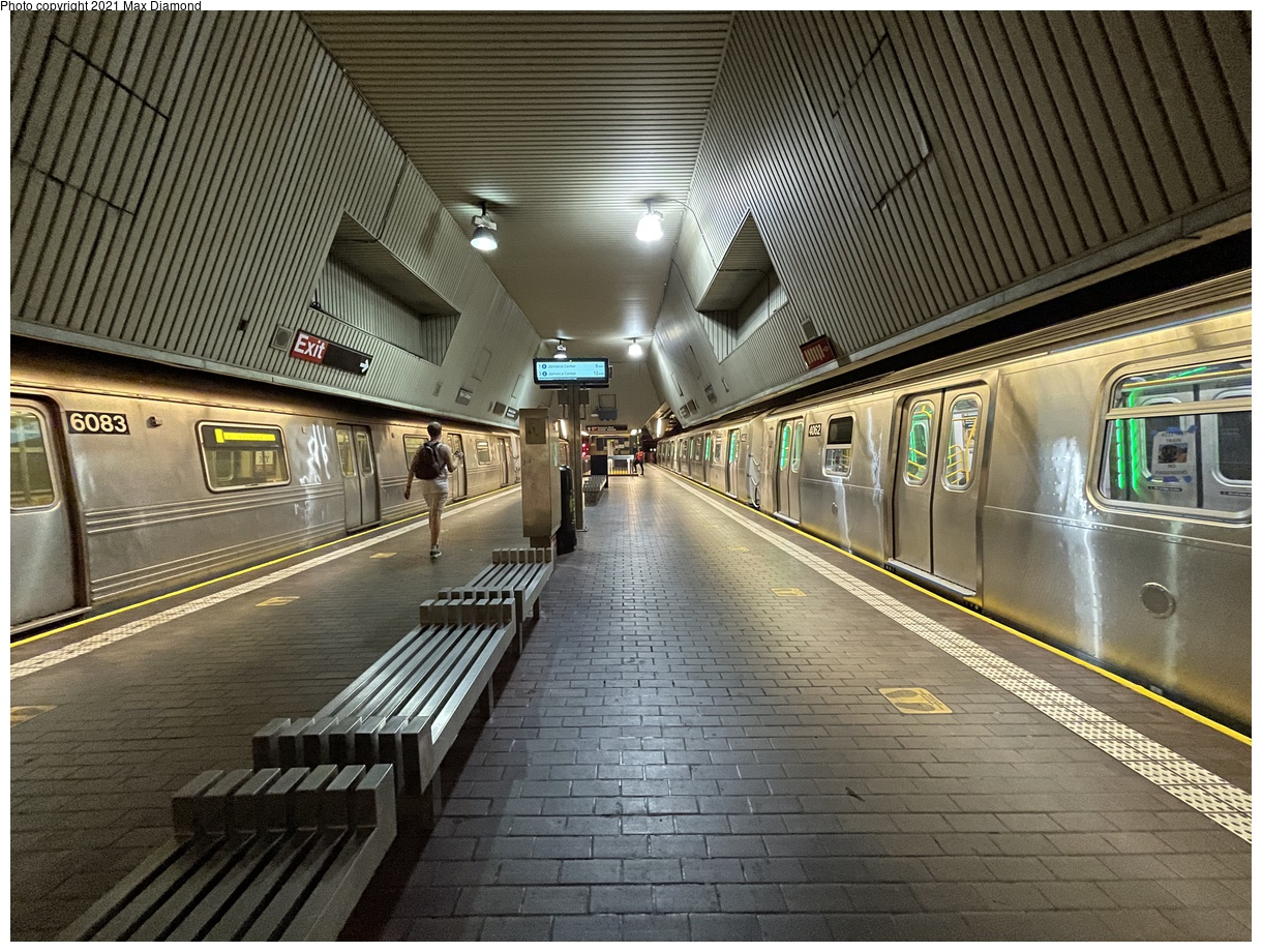 (513k, 1220x920)<br><b>Country:</b> United States<br><b>City:</b> New York<br><b>System:</b> New York City Transit<br><b>Line:</b> IND Queens Boulevard Line<br><b>Location:</b> Jamaica Center/Parsons-Archer<br><b>Route:</b> Testing<br><b>Car:</b> R-211 (Kawasaki, 2021-) 4062 <br><b>Photo by:</b> Max Diamond<br><b>Date:</b> 8/25/2021<br><b>Notes:</b> Clearance testing on the Queens Blvd line<br><b>Viewed (this week/total):</b> 12 / 193