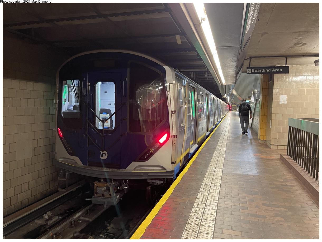 (396k, 1220x920)<br><b>Country:</b> United States<br><b>City:</b> New York<br><b>System:</b> New York City Transit<br><b>Line:</b> IND Queens Boulevard Line<br><b>Location:</b> Jamaica Center/Parsons-Archer<br><b>Route:</b> Testing<br><b>Car:</b> R-211 (Kawasaki, 2021-) 4060 <br><b>Photo by:</b> Max Diamond<br><b>Date:</b> 8/25/2021<br><b>Notes:</b> Clearance testing on the Queens Blvd line<br><b>Viewed (this week/total):</b> 26 / 180