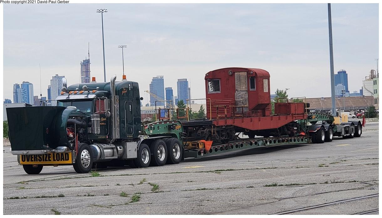 (360k, 1220x695)<br><b>Country:</b> United States<br><b>City:</b> New York<br><b>System:</b> New York City Transit<br><b>Line:</b> South Brooklyn Railway<br><b>Location:</b> 1st Avenue & 39th St (SBK)<br><b>Car:</b> R-3 Motor Flat Car (Drill Motor) (Magor Car, 1932) 41 <br><b>Photo by:</b> David-Paul Gerber<br><b>Date:</b> 8/31/2021<br><b>Notes:</b> R-3 drill motor en route to Trolley Museum of New York<br><b>Viewed (this week/total):</b> 17 / 275