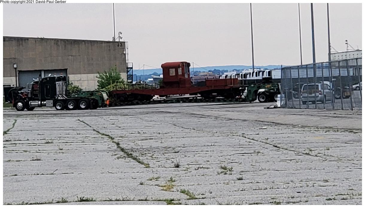 (321k, 1220x695)<br><b>Country:</b> United States<br><b>City:</b> New York<br><b>System:</b> New York City Transit<br><b>Line:</b> South Brooklyn Railway<br><b>Location:</b> 1st Avenue & 39th St (SBK)<br><b>Car:</b> R-3 Motor Flat Car (Drill Motor) (Magor Car, 1932) 41 <br><b>Photo by:</b> David-Paul Gerber<br><b>Date:</b> 8/31/2021<br><b>Notes:</b> R-3 drill motor en route to Trolley Museum of New York<br><b>Viewed (this week/total):</b> 6 / 213