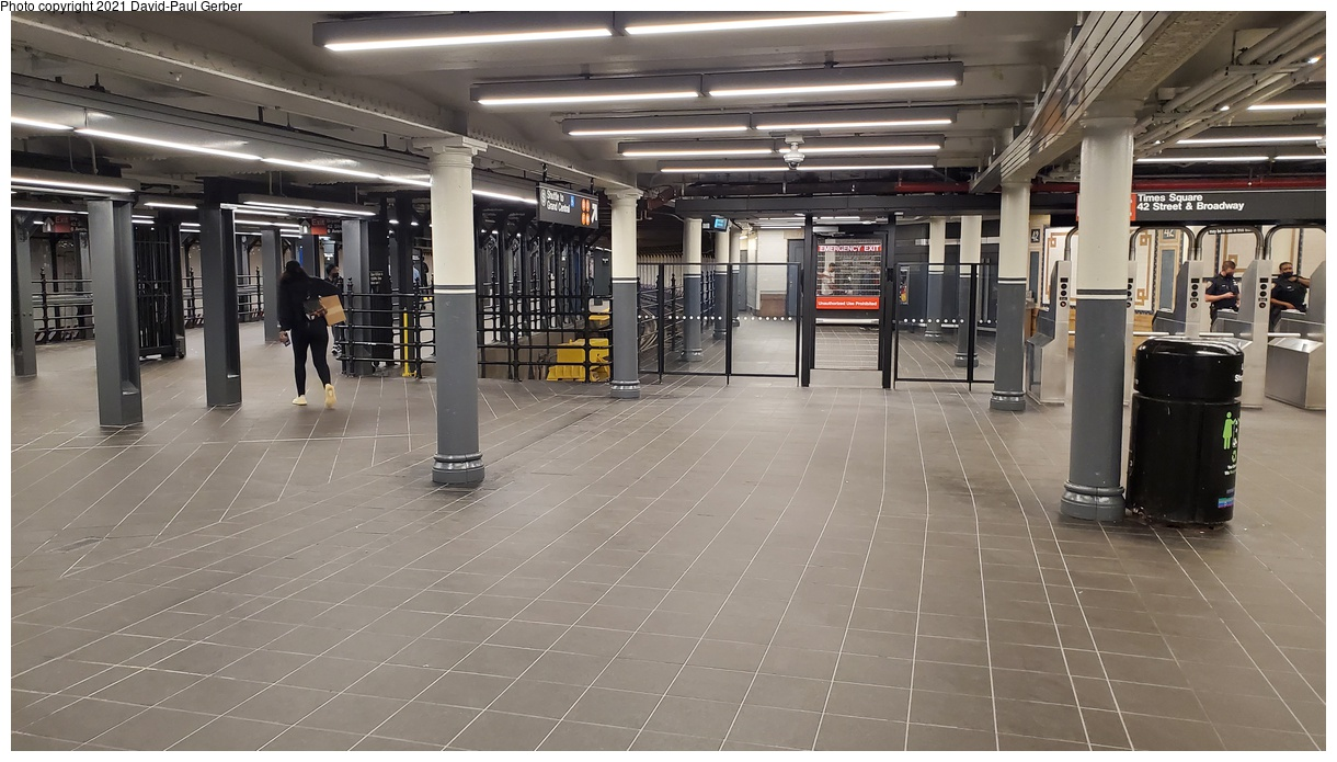 (359k, 1220x695)<br><b>Country:</b> United States<br><b>City:</b> New York<br><b>System:</b> New York City Transit<br><b>Line:</b> IRT Times Square-Grand Central Shuttle<br><b>Location:</b> Times Square<br><b>Photo by:</b> David-Paul Gerber<br><b>Date:</b> 9/7/2021<br><b>Notes:</b> Renovated and reconstructed Times Square shuttle platform.<br><b>Viewed (this week/total):</b> 146 / 146