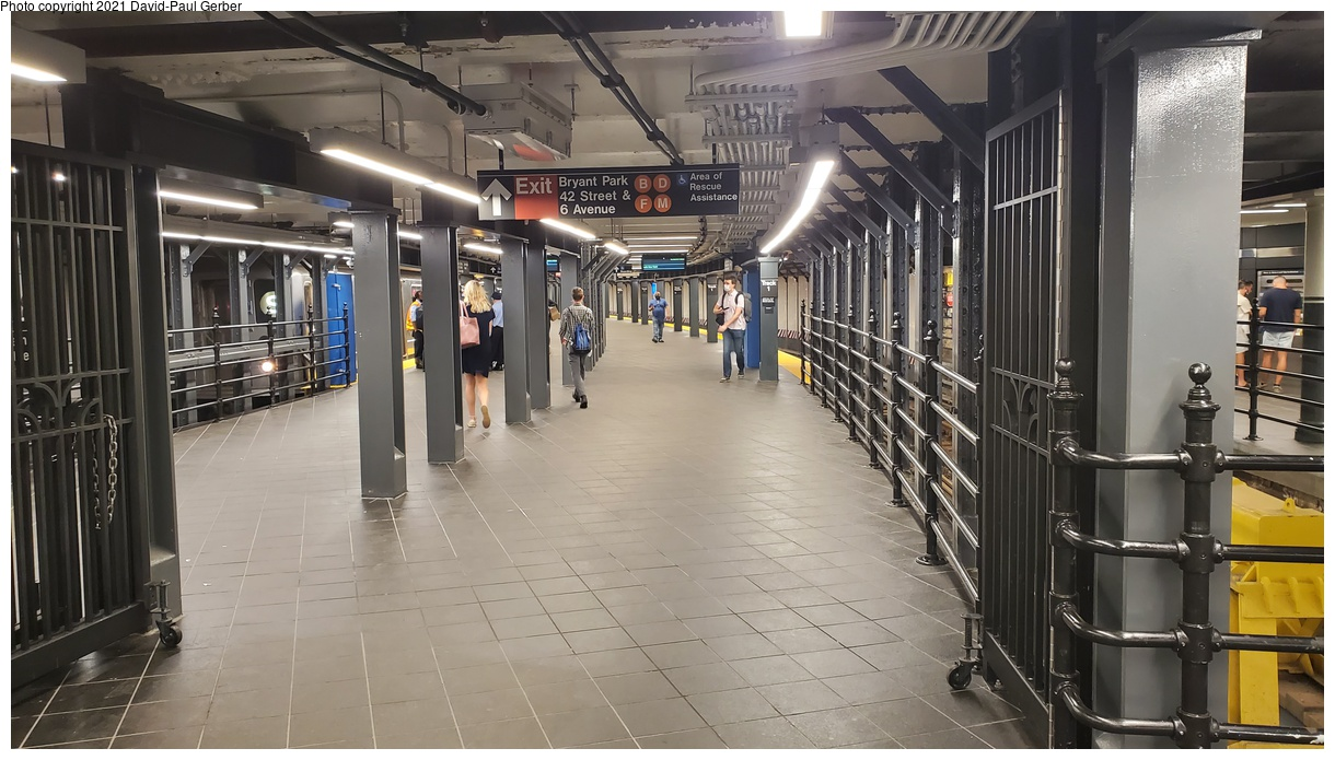 (360k, 1220x695)<br><b>Country:</b> United States<br><b>City:</b> New York<br><b>System:</b> New York City Transit<br><b>Line:</b> IRT Times Square-Grand Central Shuttle<br><b>Location:</b> Times Square<br><b>Photo by:</b> David-Paul Gerber<br><b>Date:</b> 9/7/2021<br><b>Notes:</b> Renovated and reconstructed Times Square shuttle platform.<br><b>Viewed (this week/total):</b> 132 / 132