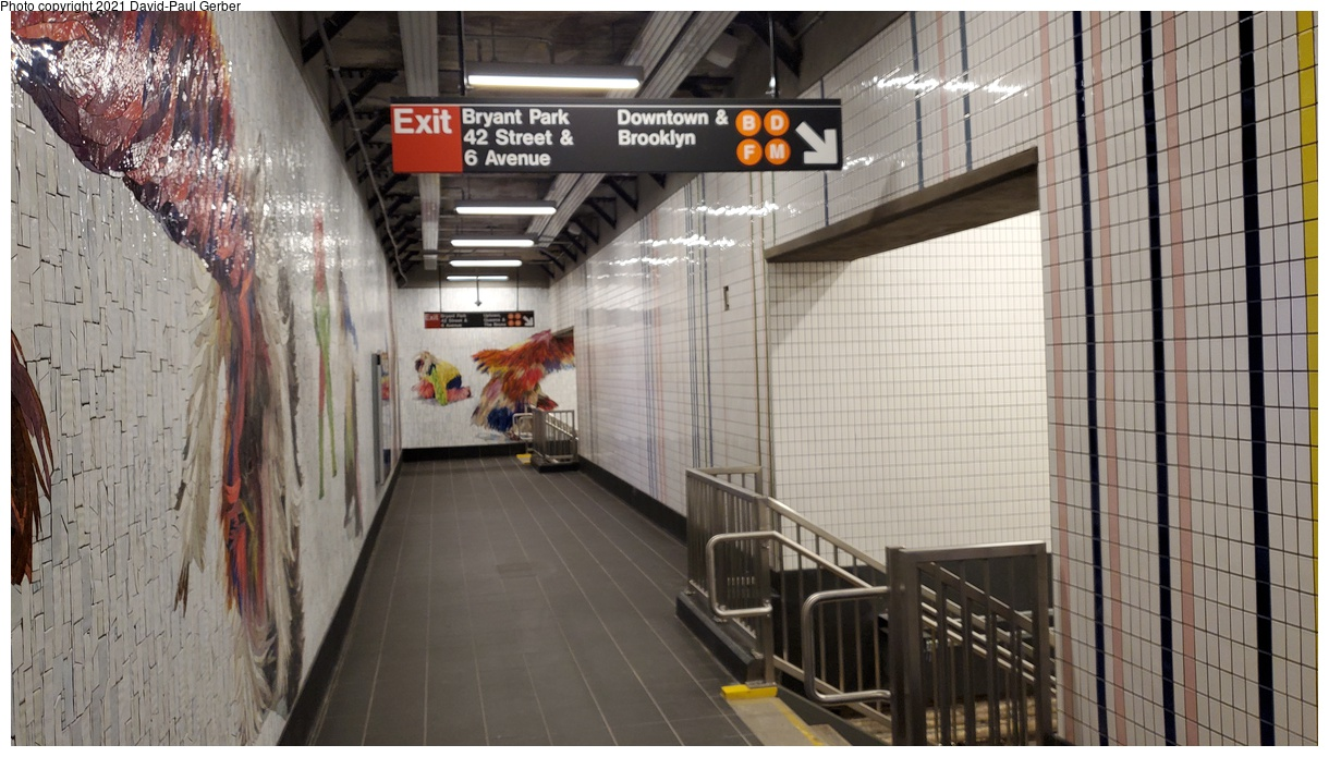 (351k, 1220x695)<br><b>Country:</b> United States<br><b>City:</b> New York<br><b>System:</b> New York City Transit<br><b>Line:</b> IRT Times Square-Grand Central Shuttle<br><b>Location:</b> Times Square<br><b>Photo by:</b> David-Paul Gerber<br><b>Date:</b> 9/7/2021<br><b>Artwork:</b> <i>Every One - Each One - Equal All</i>, Nick Cave, 2021<br><b>Notes:</b> New connecting passageway to 42nd St-Bryant Park station on the IND 6th Ave line.<br><b>Viewed (this week/total):</b> 84 / 278