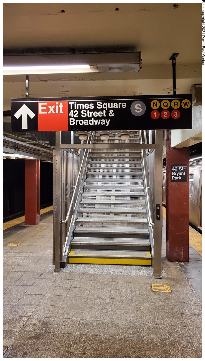 (372k, 695x1220)<br><b>Country:</b> United States<br><b>City:</b> New York<br><b>System:</b> New York City Transit<br><b>Line:</b> IND 6th Avenue Line<br><b>Location:</b> 42nd Street/Bryant Park<br><b>Photo by:</b> David-Paul Gerber<br><b>Date:</b> 9/7/2021<br><b>Notes:</b> Stairway to new connecting passageway to Times Square station complex.<br><b>Viewed (this week/total):</b> 97 / 344